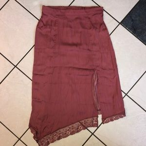 Free People pink lace skirt
